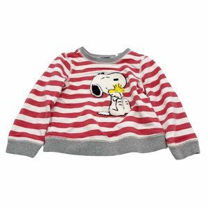GAP + Peanuts Striped Red Sweater Snoopy Size 2